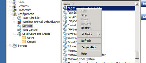Windows Services Administration - Stop TAG Transaction